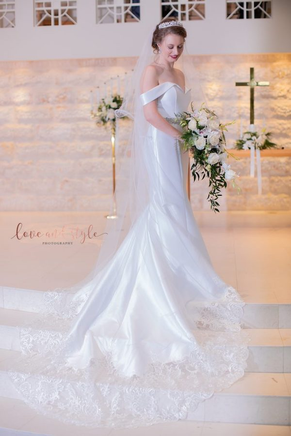 Sarasota wedding. - Truly Forever Bridal - Sarasota bridal salon - wedding gowns in Sarasota- Truly Forever Bridal Private Label wedding gown - bride with crystal tiara